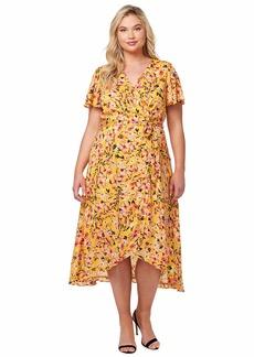 Jessica Simpson Women's Plus Size Shay Ruffle Trim Wrap Dress