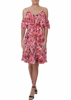 Jessica Simpson Women's Printed Cold Shoulder Dress Leina