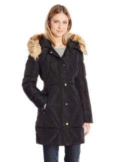 Jessica Simpson Women's Puffer Coat With Faux Fur Collar  XS