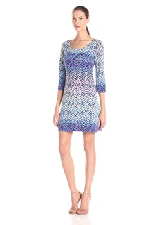 Jessica Simpson Women's Purple Printed ITY Dress with Back Detail