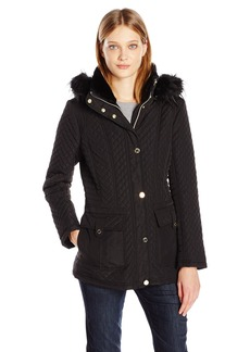Jessica Simpson Women's Quilted Coat with Faux Fur Hood  L