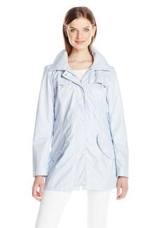Jessica Simpson Women's Rain Slicker Fold Over Zip-Neck Anorak with Hood
