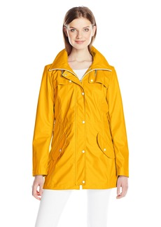 Jessica Simpson Women's Rain Slicker Fold Over Zip-Neck Anorak with Hood