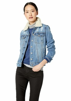 Jessica Simpson Women's Reagan Collared Denim Jean Jacket Santa fe/Natural Sherpa