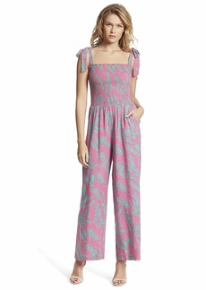 Jessica Simpson Women's Romie Shoulder Tie Smocked Jumpsuit