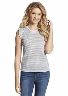 Jessica Simpson Women's Sage Feminine Cut Muscle Tee Shirt Gardenia/Maritime Blue