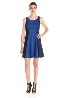 Jessica Simpson Women's Scuba Fit-and-Flare Dress with Lace Side Details