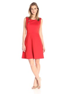 Jessica Simpson Women's Scuba Fit-and-Flare Dress with Turn Key Detail