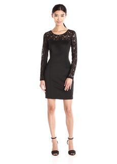 Jessica Simpson Women's Scuba Long Sleeve Dress with Floral Lace Neckline and Sleeves