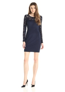 Jessica Simpson Women's Scuba L/S Dress with Floral Lace Neckline and Sleeves