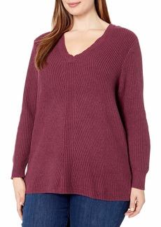 Jessica Simpson Women's Plus Size Seana V Neck Tunic Sweater