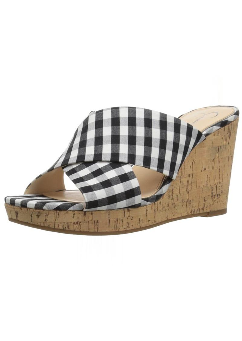Jessica Simpson Women's SEENA Wedge Sandal black/white  Medium US