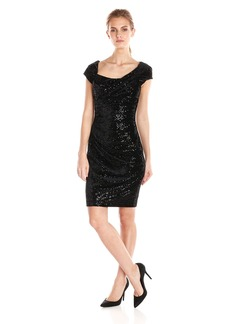 Jessica Simpson Women's Sequin Velvet Cap Sleeve Dress with Side Ruching