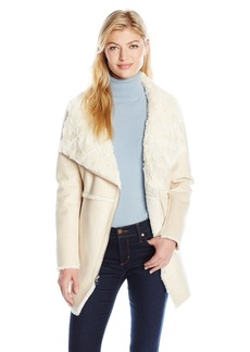Jessica Simpson Women's Shearling Faux Fur Collar Asymmetrical Coat  L