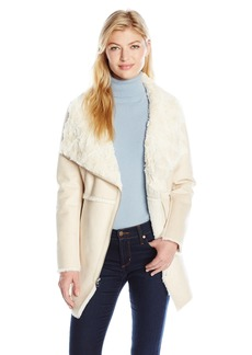 Jessica Simpson Women's Shearling Faux Fur Collar Asymmetrical Coat  XS