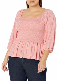 Jessica Simpson Women's Sherrie Square Neck Smocked Top  XLarge