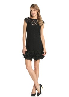 Jessica Simpson Women's Short Sleeve Lace Dress with Feather Hem
