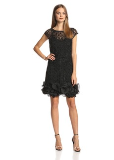 Jessica Simpson Women's Short Sleeve Lace Ruffle Hem Dress