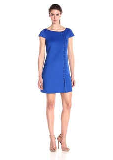 Jessica Simpson Women's Short-Sleeve Scuba Dress with Lace up Detail