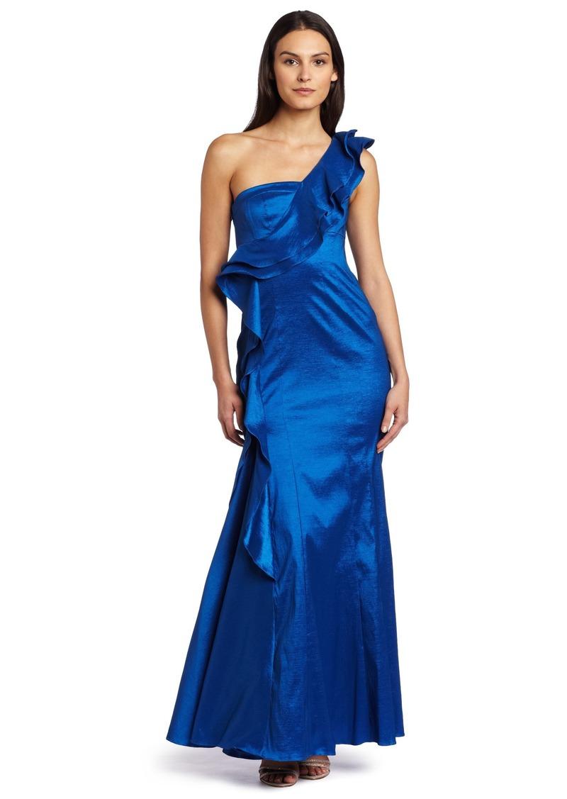 Jessica Simpson Women's Shoulder Ruffle Ball Gown