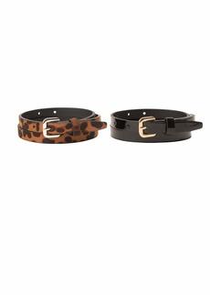 Jessica Simpson Women's Skinny Waist Belt Two Pack-Polished Leopard