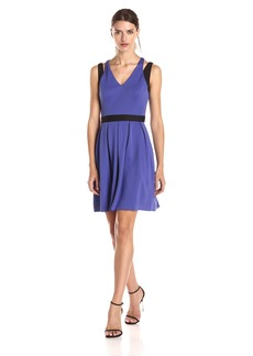 Jessica Simpson Women's Sleeveless Double Strap Fit and Flare Dress