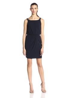 Jessica Simpson Women's Sleeveless Faux Wrap Skirt with Beaded Straps