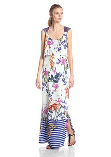 Jessica Simpson Women's Sleeveless Poppver Printed Maxi Dress