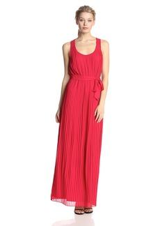 Jessica Simpson Women's Sleeveless Scoop Neck Pleated Maxi Dress