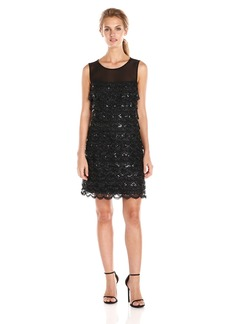Jessica Simpson Women's Sleeveless Tiered Scalloped Mesh Sequin Dress