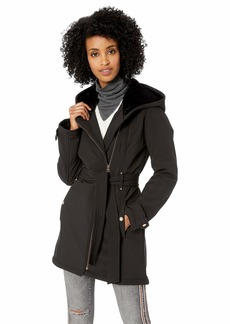 Jessica Simpson Women's Softshell Sherpa Lined Fashion Jacket Black L