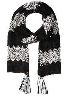 Jessica Simpson Women's Solid and Marled Stripe Scarf black