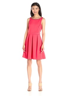 Jessica Simpson Women's Solid Bow-Back Dress with Neck Trim