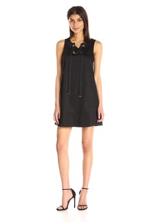 Jessica Simpson Women's Solid Cotton Satin Dress with Front Bow