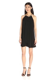 Jessica Simpson Women's Solid Ity Dress with Gold Chain Necklace