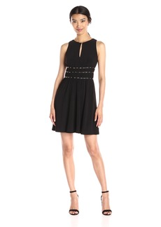 Jessica Simpson Women's Solid Ity Dress with Ruched Embellished Waist