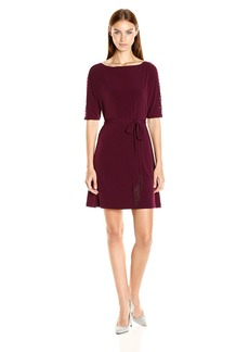 Jessica Simpson Women's Solid Jersey Dress with Sash