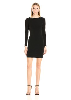 Jessica Simpson Women's Solid Long Sleeve Dress with Trim