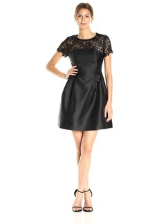 Jessica Simpson Women's Solid Party Dress With Neck Trim