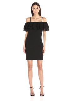 Jessica Simpson Women's Solid Ruffle Off The Shoulder Dress