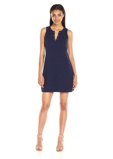 Jessica Simpson Women's Solid Scub Dress with Hardware Detail