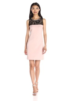 Jessica Simpson Women's Solid Scuba Dress with Lace Illusion Neck
