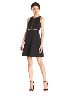 Jessica Simpson Women's Solid Scuba Fit-and-Flare With Gold Embellishment