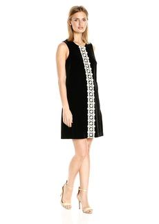 Jessica Simpson Women's Solid Velvet Dress with Metallic Lace Trim