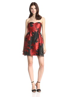 Jessica Simpson Women's Strapless Fit and Flare Dress with Illusion Neckline