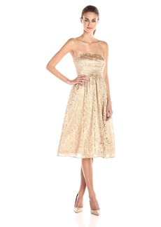 Jessica Simpson Women's Strapless Metallic Floral Mesh Midi Dress