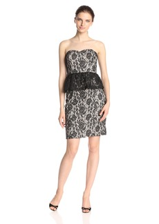 Jessica Simpson Women's Strapless Peplum Lace Midi Dress