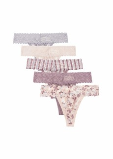Jessica Simpson Women's Stretch Lace No Show Thong Panties Underwear Multi-Pack