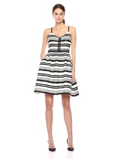 Jessica Simpson Women's Striped Party Dress Black/Ivory