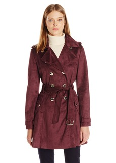 Jessica Simpson Women's Suede Belted Rain Trench Coat  L